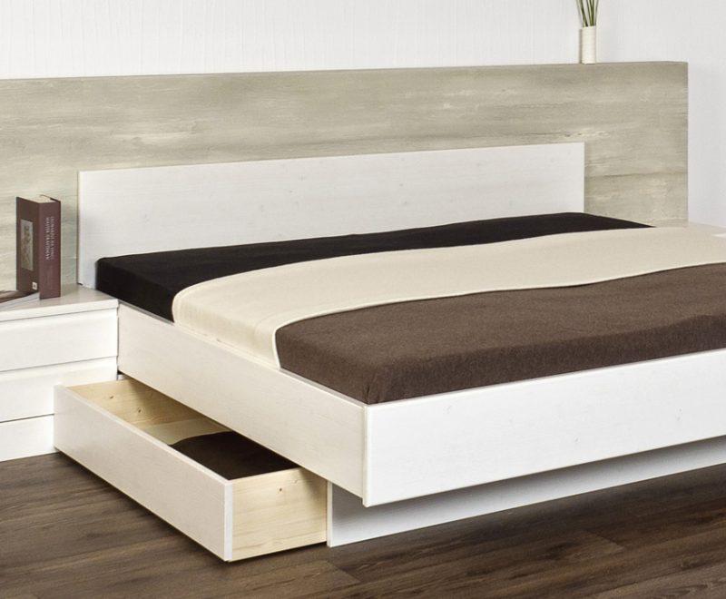 Massivholzbett New York aus Fichte in weiß mit Schubladen von Betten Impulse in Bad Aibling