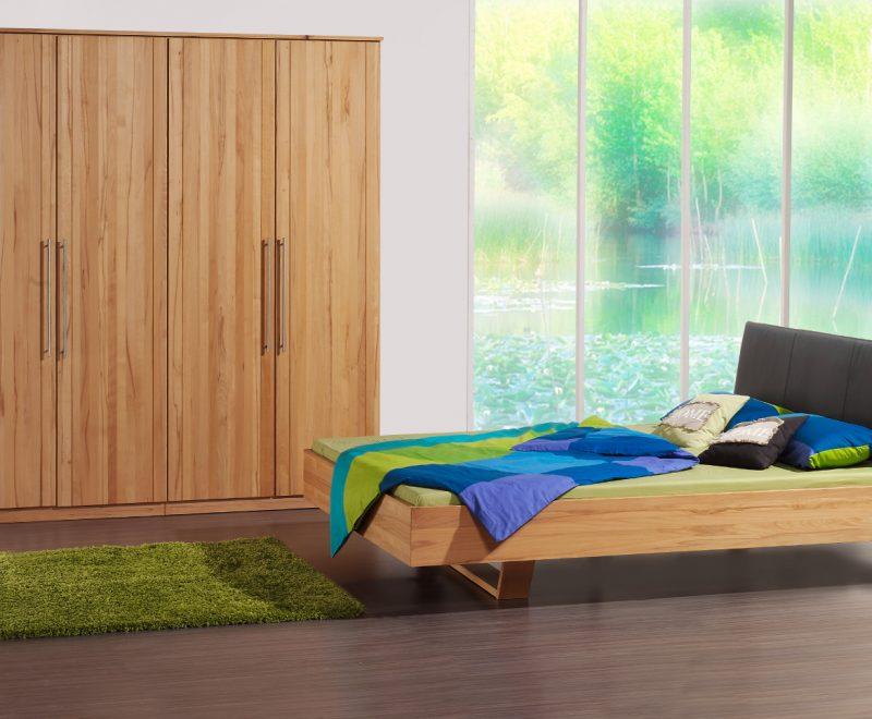 Massivholzbett Prado Kernbuche mit Kopfteil aus Leder von Betten Impulse in Bad Aibling