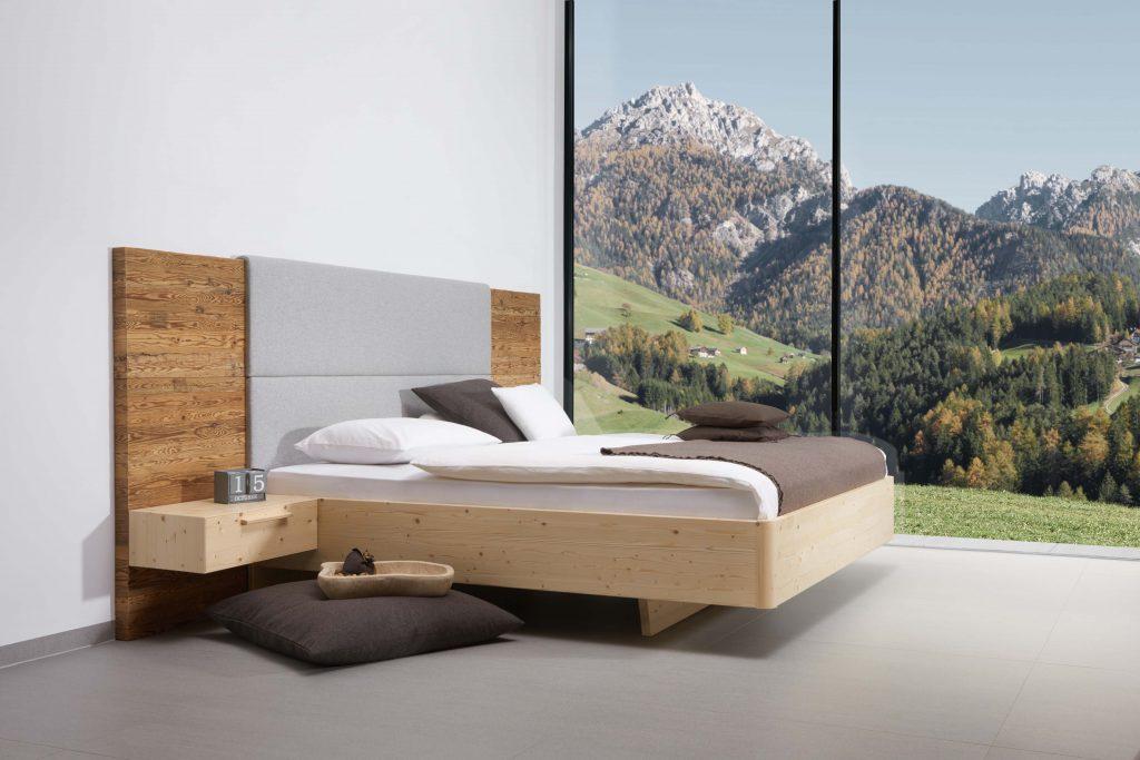 Zirbenbett Gardena mit Altholzpaneel von Betten Impulse in Bad Aibling