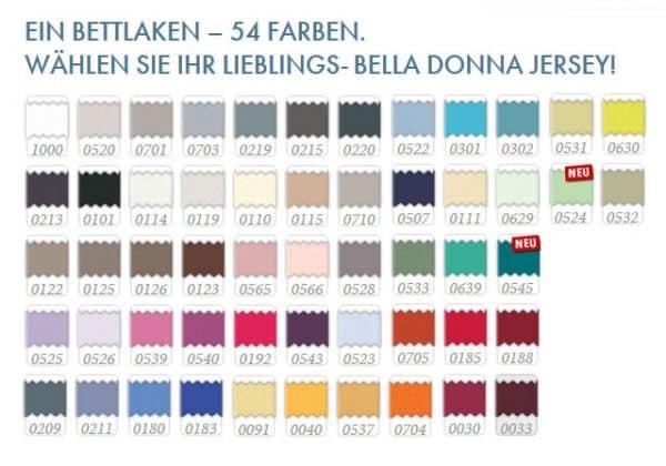 Farbauswahl für das Formesse Spannbettlaken Bella Donna Jersey